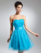 A-Line/Princess Sweetheart Knee-Length Organza Cocktail Dress With Ruffle (016015116)