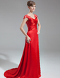 A-Line/Princess V-neck Sweep Train Charmeuse Lace Evening Dress With Ruffle Beading (017005598)