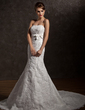 Trumpet/Mermaid Strapless Chapel Train Organza Wedding Dress With Ruffle Beading Appliques Lace Bow(s) (002012838)
