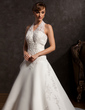 A-Line/Princess Halter Chapel Train Satin Wedding Dress With Beading Appliques Lace Sequins (002015162)