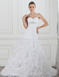 A-Line/Princess Sweetheart Chapel Train Satin Organza Wedding Dress With Ruffle Beading Flower(s) (002004749)