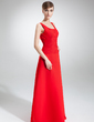 A-Line/Princess Scoop Neck Floor-Length Chiffon Bridesmaid Dress With Ruffle (007001869)