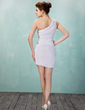 Sheath/Column One-Shoulder Short/Mini Chiffon Cocktail Dress With Ruffle Beading (016021184)