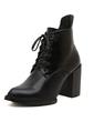 Suni deri Kalın Topuk Ayak bileği Boots Ile Bağcıklı ayakkabı (088056651)