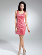Sheath/Column Scoop Neck Short/Mini Satin Cocktail Dress With Beading Sequins (016014906)