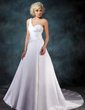 A-Line/Princess One-Shoulder Chapel Train Satin Wedding Dress With Ruffle Beading Sequins (002001181)