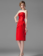 Sheath/Column Strapless Knee-Length Satin Bridesmaid Dress With Ruffle (007001801)