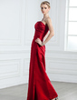 Sheath/Column Strapless Floor-Length Satin Bridesmaid Dress With Ruffle (007001761)