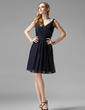 A-Line/Princess V-neck Knee-Length Chiffon Bridesmaid Dress With Ruffle (007004438)