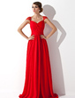 A-Line/Princess V-neck Watteau Train Chiffon Evening Dress With Ruffle Beading (017013781)