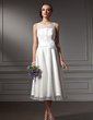 A-Line/Princess Scoop Neck Tea-Length Satin Wedding Dress With Flower(s) (002021079)