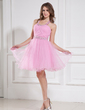 A-Line/Princess Halter Knee-Length Tulle Homecoming Dress With Ruffle Beading (022015434)