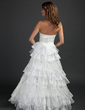 Ball-Gown Strapless Floor-Length Satin Organza Wedding Dress With Lace Cascading Ruffles (002015382)