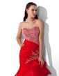 Denizkızı Kalp Kesimli Uzun Etekli Organza Satin Mezuniyet Elbisesi Ile Boncuklama Pullarda (018005174)