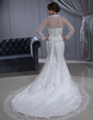 Trumpet/Mermaid Strapless Chapel Train Tulle Wedding Dress With Lace Beading Bow(s) (002011462)