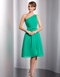 A-Line/Princess One-Shoulder Knee-Length Chiffon Bridesmaid Dress With Ruffle Bow(s) (007014730)