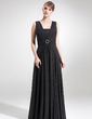 A-Line/Princess Square Neckline Floor-Length Chiffon Mother of the Bride Dress With Ruffle Crystal Brooch (008006273)