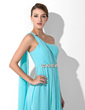 A-Line/Princess One-Shoulder Floor-Length Chiffon Prom Dress With Ruffle Beading (018013099)
