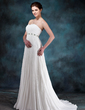 Empire Sweetheart Court Train Chiffon Wedding Dress With Beading Sequins Pleated (002012199)