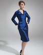 Sheath/Column V-neck Knee-Length Taffeta Mother of the Bride Dress (008006486)