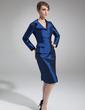 Kılıf V Yaka Diz Hizası Taffeta Gelin Annesi Elbisesi (008006486)