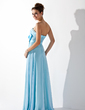 A-Line/Princess Strapless Floor-Length Chiffon Evening Dress With Ruffle Beading Crystal Brooch (017013770)