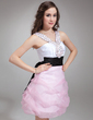 A-Line/Princess V-neck Short/Mini Organza Homecoming Dress With Ruffle Beading Sequins Bow(s) (022009953)