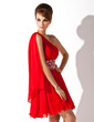 Çan/Prenses Tek-Omuzlu Kısa/Mini Chiffon Mezunlar Gecesi Elbisesi Ile Büzgü Boncuklama (022008985)