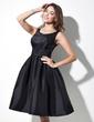 A-Line/Princess Scoop Neck Knee-Length Taffeta Bridesmaid Dress With Ruffle (007021291)