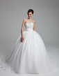 Ball-Gown Sweetheart Court Train Organza Satin Wedding Dress With Ruffle Lace Beadwork (002011973)