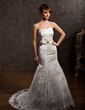 Trumpet/Mermaid Sweetheart Chapel Train Lace Wedding Dress With Beading Flower(s) (002000427)