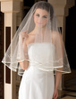 One-tier Fingertip Bridal Veils With Ribbon Edge (006036628)