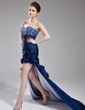 Sheath/Column Sweetheart Asymmetrical Taffeta Prom Dress With Ruffle Beading Flower(s) Sequins (018002500)
