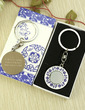 Personalized Blue-and-white Design Stainless Steel Keychains (Set of 6) (118033691)