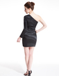 Sheath/Column One-Shoulder Short/Mini Charmeuse Cocktail Dress (016008641)