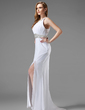 Trumpet/Mermaid Scoop Neck Sweep Train Chiffon Prom Dress With Ruffle Beading Split Front (018004915)