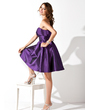Empire Scalloped Neck Knee-Length Taffeta Homecoming Dress With Ruffle (022010094)