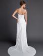 Tubo Coração Trem da varredura De chiffon Vestido de noiva com Pregueado (002011592)