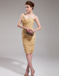 Sheath/Column Sweetheart Knee-Length Chiffon Cocktail Dress With Ruffle (016008440)