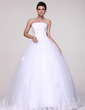 Ball-Gown Strapless Floor-Length Tulle Wedding Dress With Lace Beading (002016109)