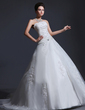 Ball-Gown Strapless Chapel Train Satin Organza Wedding Dress With Lace Beading (002017382)