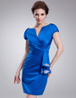 Sheath/Column V-neck Knee-Length Satin Cocktail Dress With Ruffle Beading (016021234)