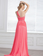 A-Line/Princess One-Shoulder Sweep Train Chiffon Prom Dress With Ruffle Beading (018004848)