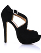 Suede Stiletto Heel Sandals Platform Peep Toe With Buckle shoes (085022615)