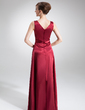 A-Line/Princess V-neck Floor-Length Charmeuse Mother of the Bride Dress (008020652)