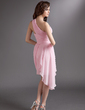 Sheath/Column One-Shoulder Asymmetrical Chiffon Cocktail Dress With Ruffle (016016279)