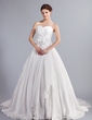 Ball-Gown Sweetheart Cathedral Train Taffeta Wedding Dress With Ruffle Flower(s) Bow(s) (002000082)