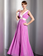 A-Line/Princess V-neck Floor-Length Chiffon Evening Dress With Ruffle Sash (017014783)