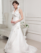 A-Line/Princess Halter Sweep Train Taffeta Wedding Dress With Flower(s) Cascading Ruffles (002011745)