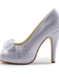 Women's Satin Cone Heel Peep Toe Platform Sandals With Rhinestone Satin Flower (047029180)